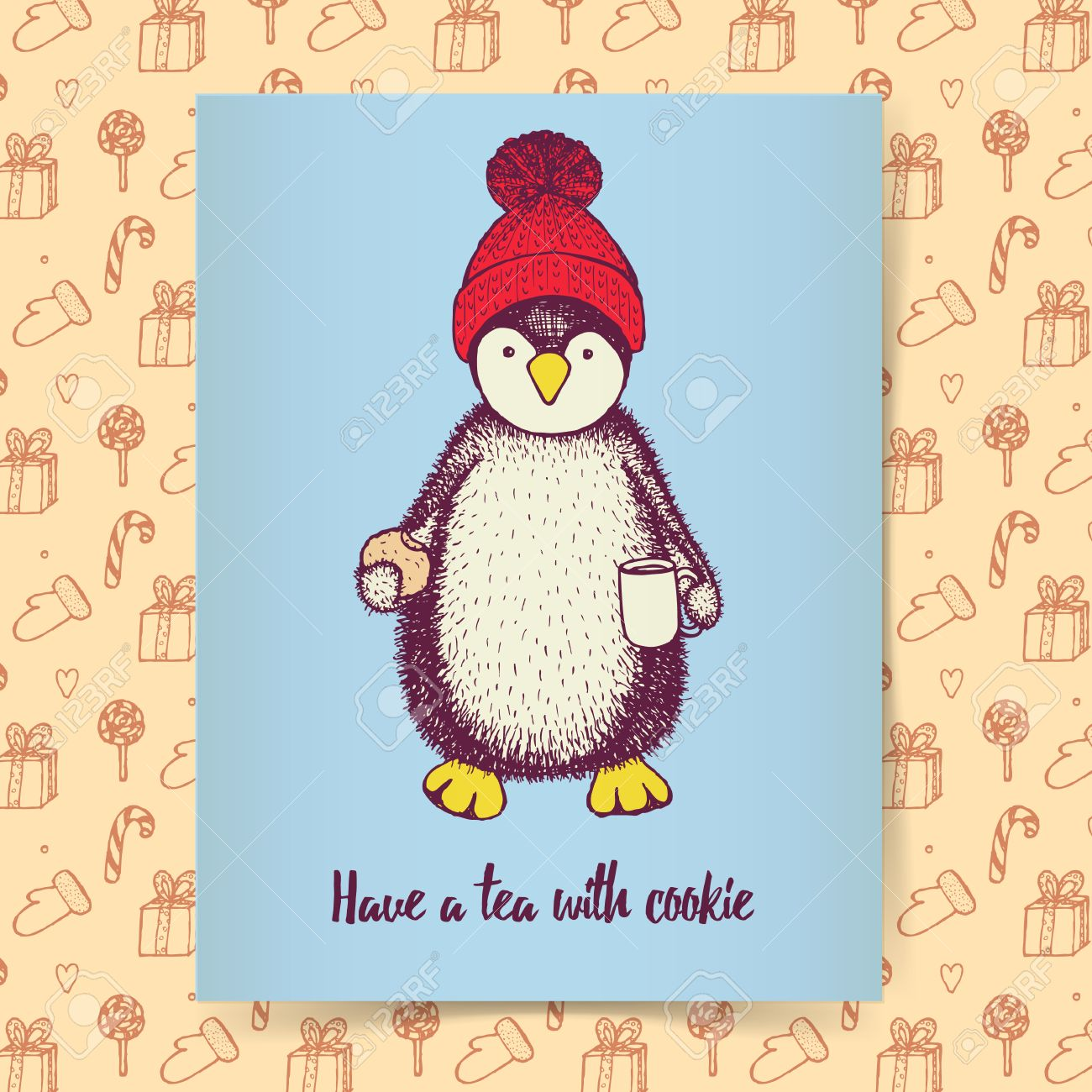 sketch pinguin in hat cup of tea and cookie in vintage style sketch pinguin in hat cup of tea and cookie in vintage style christmas poster