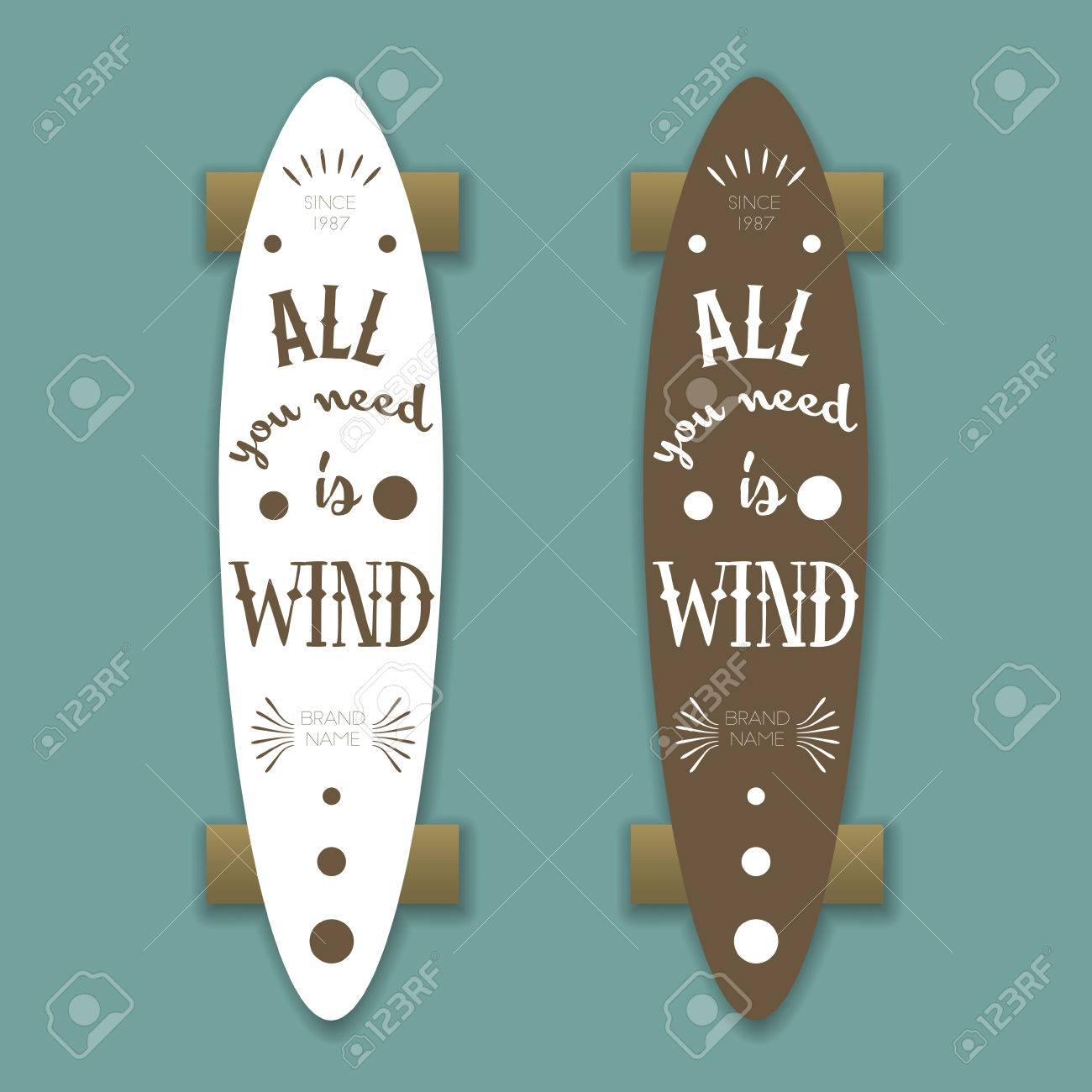 Longboard Skateboard Vector Template With Lettering Royalty Free