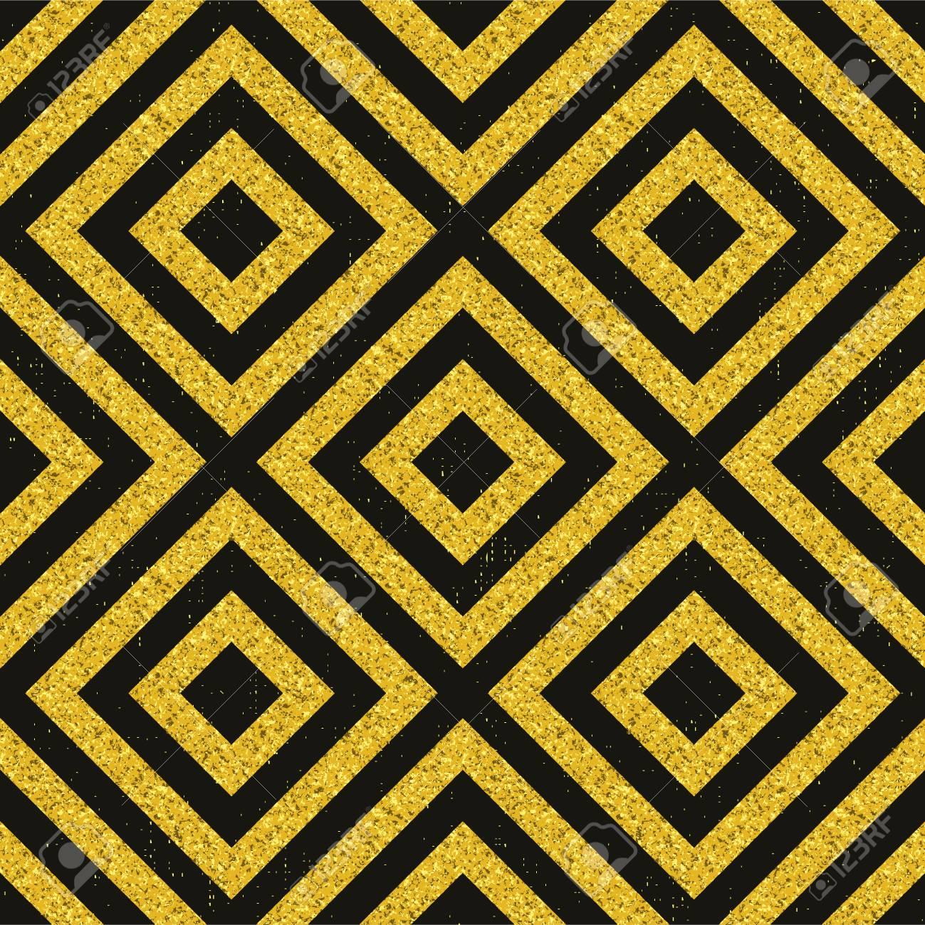 Motif Dore Texture De Paillettes Geometriques Sur Carrelage Noir Et