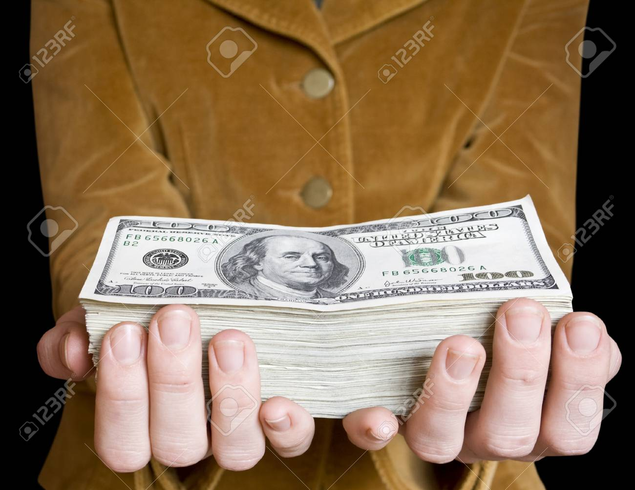 money in a businessman hand on the white Stock Photo - 7897277