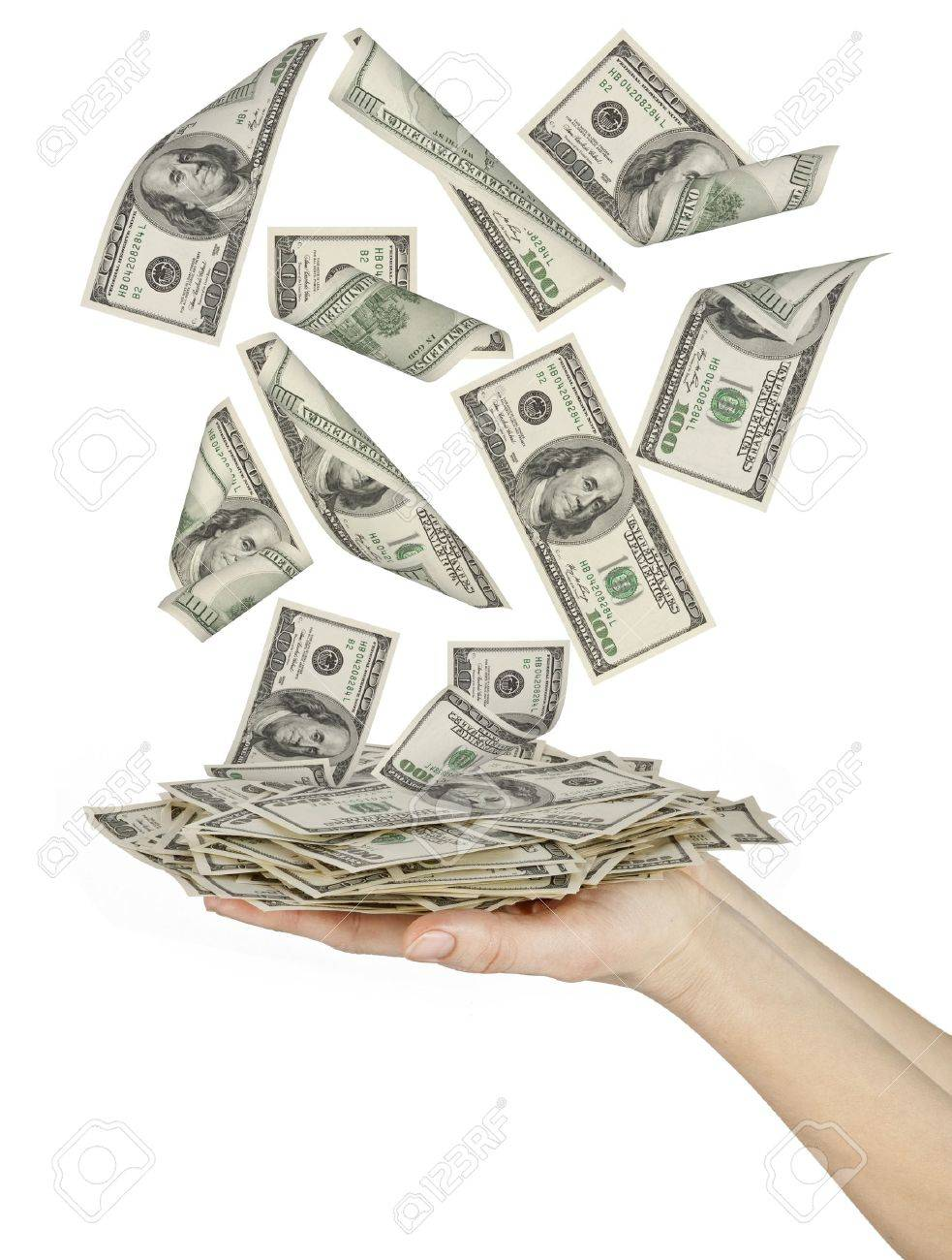 Many dollars falling on womans hand with money Stock Photo - 9458445