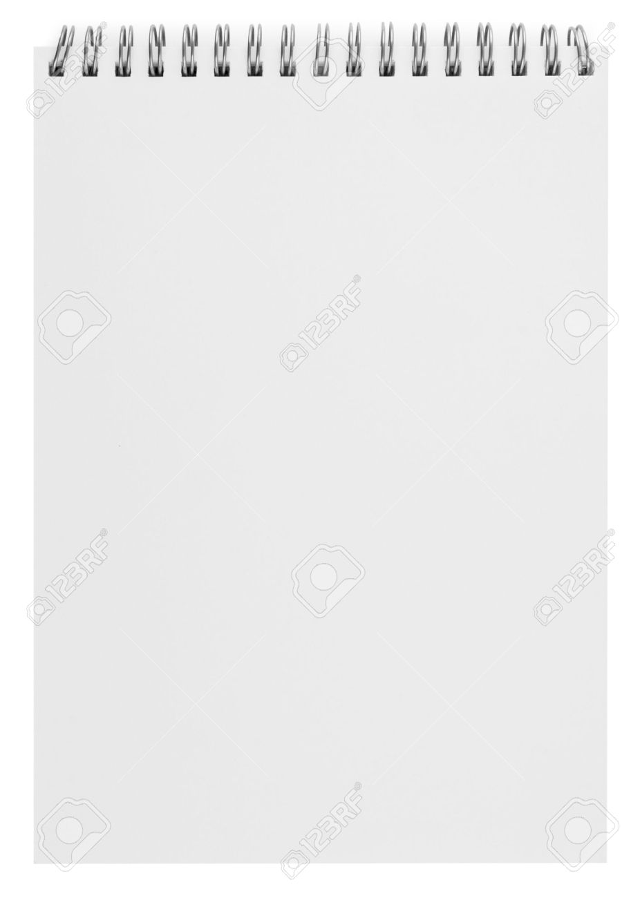 Blank Background. Paper Spiral Notebook Isolated On White Stock Photo    10528498  Blank Paper Background