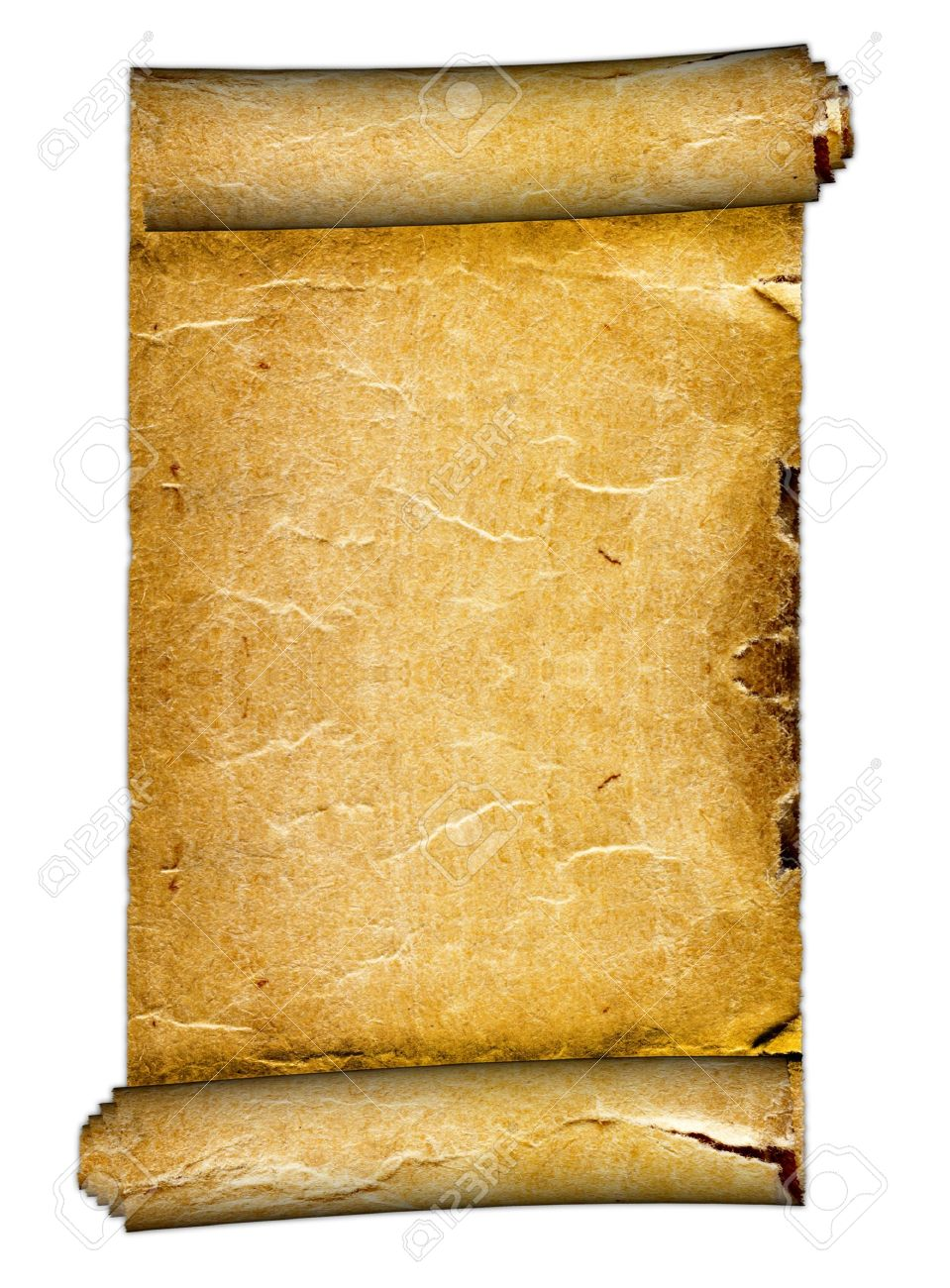 a old blank scroll on the white backgrounds stock photo, picture, Powerpoint templates