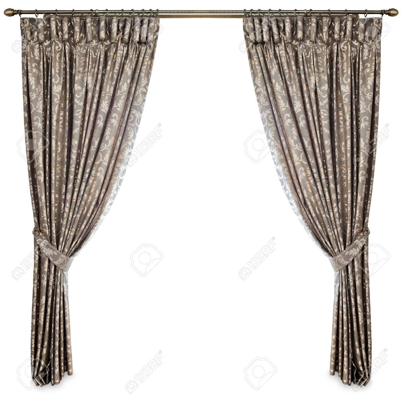 Curtains On A White Background Stock Photo, Picture And Royalty