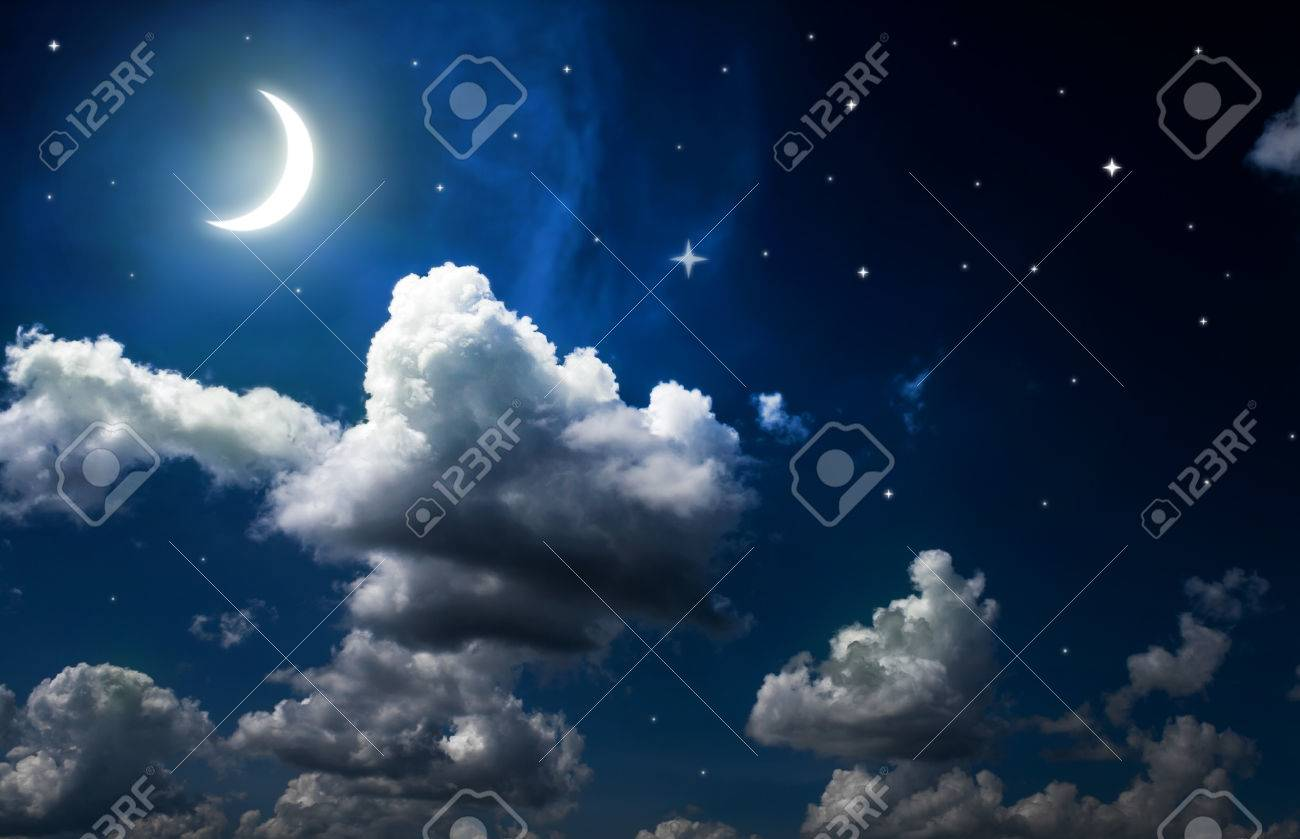Night Sky With Stars Moon And Beautiful Clouds Stock Photo