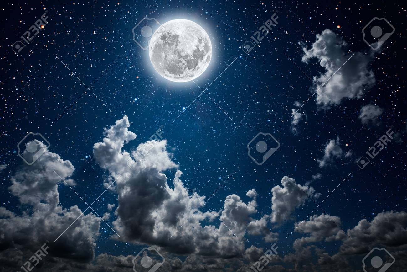 backgrounds night sky with stars and moon and clouds. - 121621487
