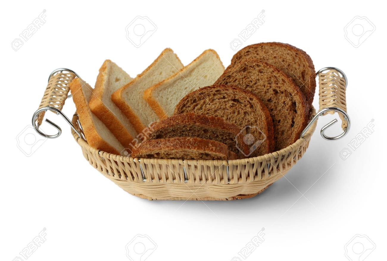 Sliced bread in a wicker basket on a white background Stock Photo - 7990027