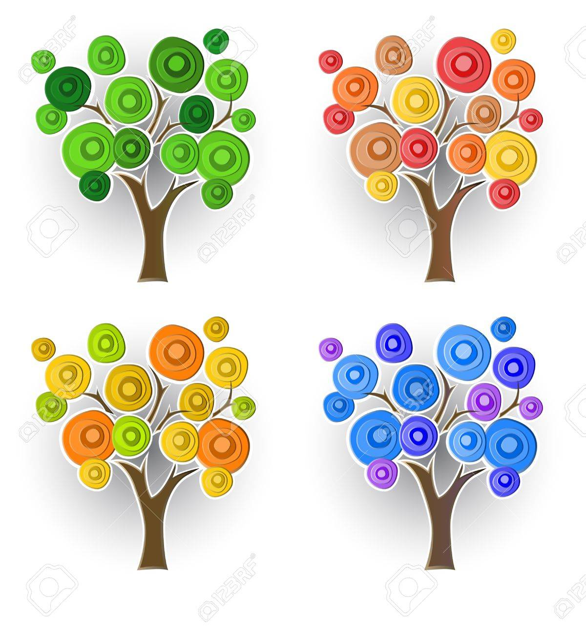 Set of decorative trees Stock Vector - 10827059