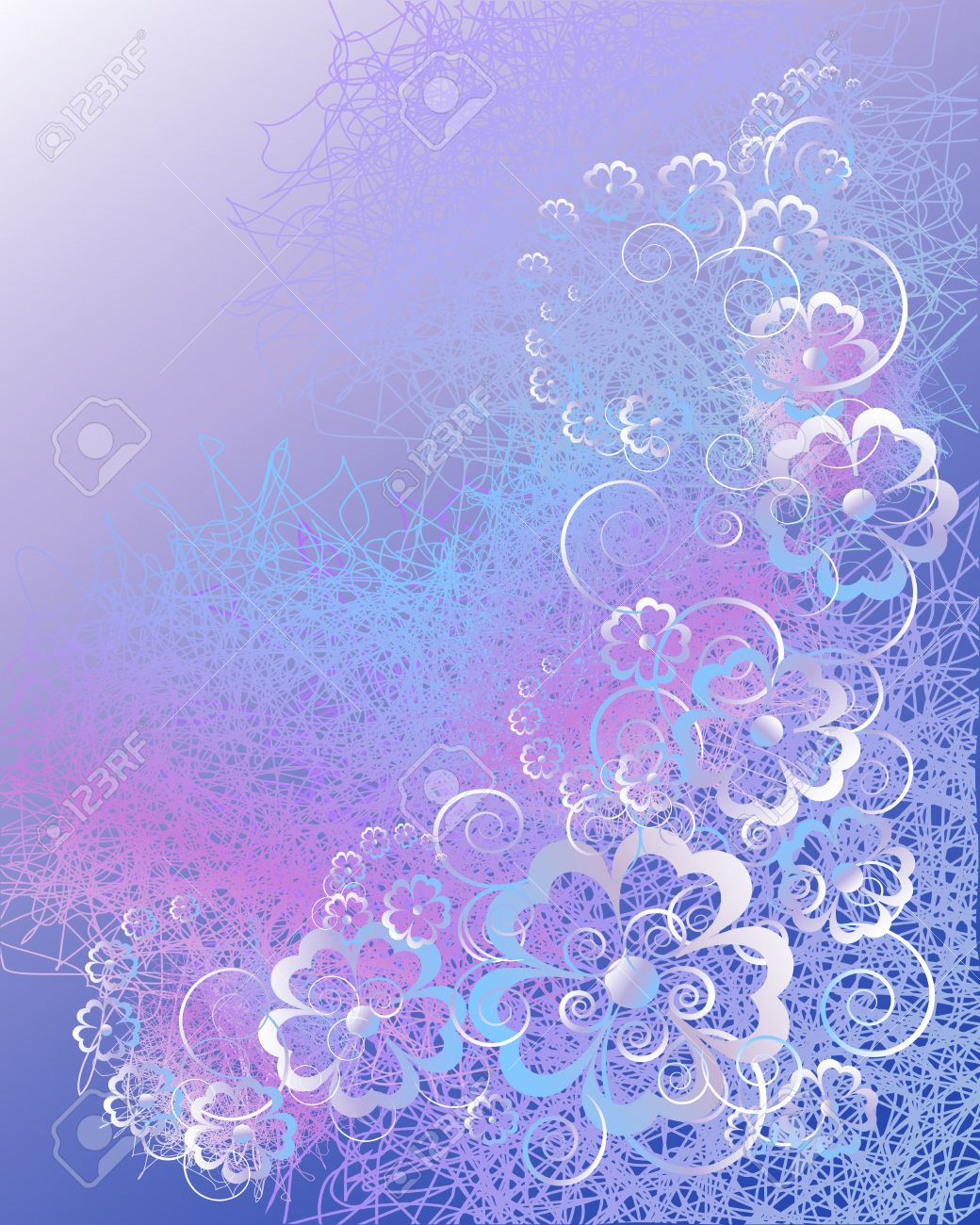 Floral Abstract Background In Blue Violet Tones