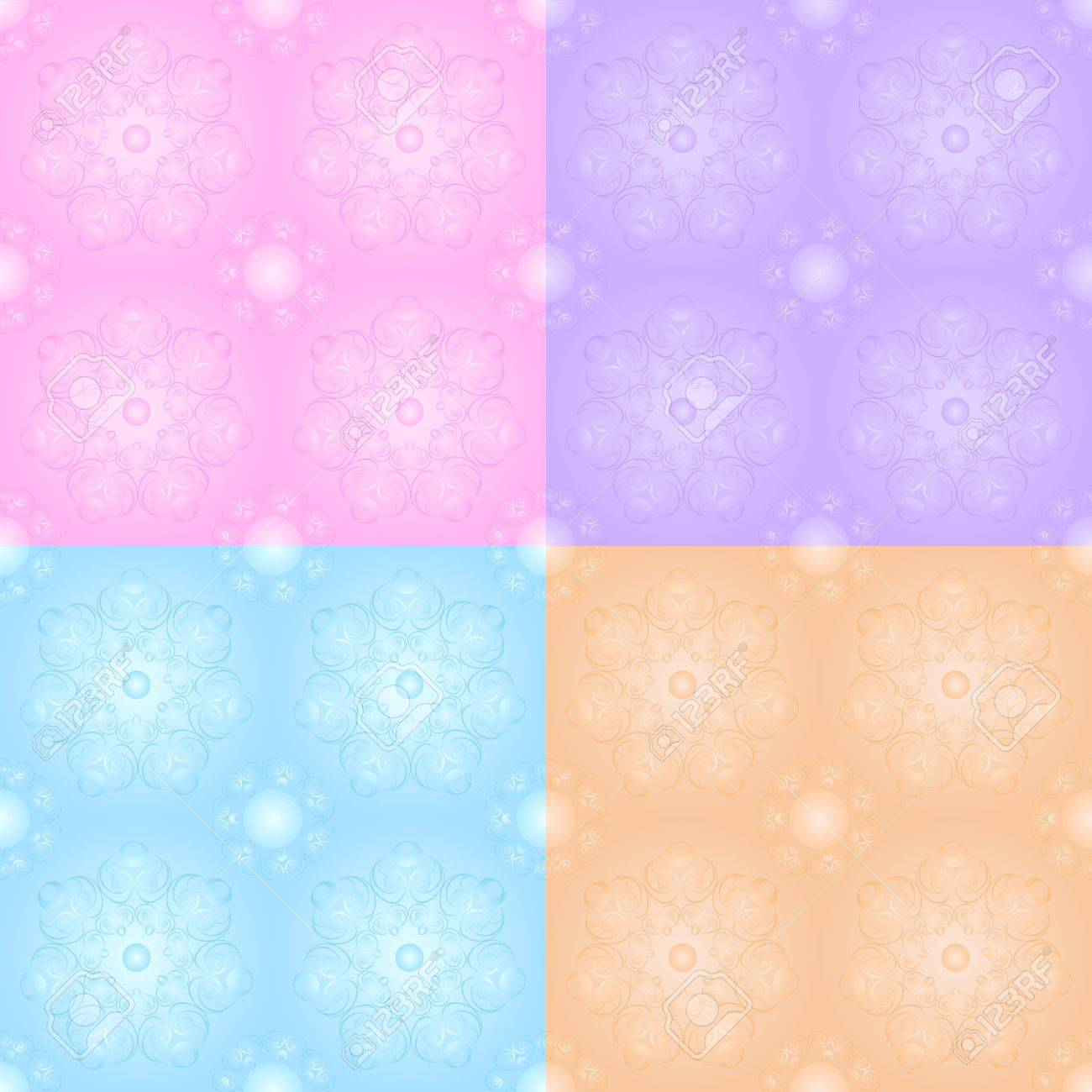 Set of floral seamless in pastel tones Stock Vector - 12021957
