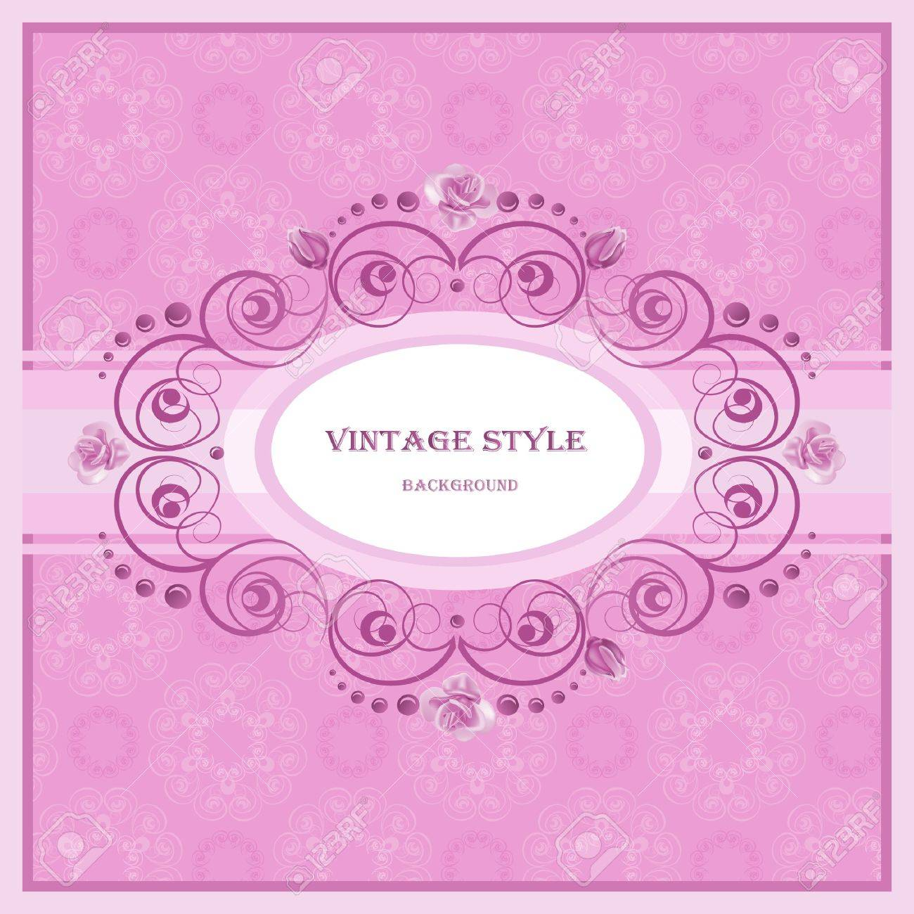 Vector round frame with pink flowers on white background in pastel - Vintage Frame In Pastel Tones Stock Vector 12033007