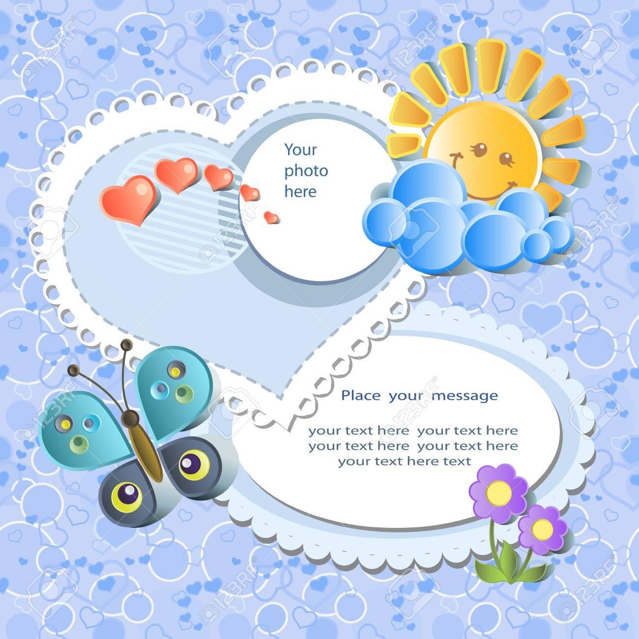 Vector baby card with scrapbook elements Stock Vector - 12353399