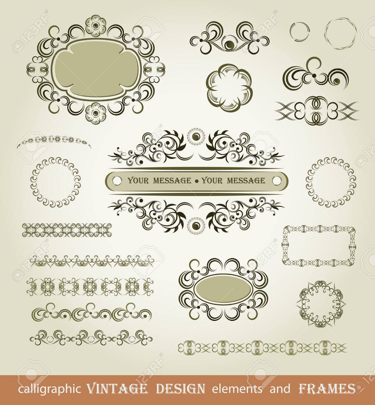 Set of calligraphy elements  and brushes Stock Vector - 13143450