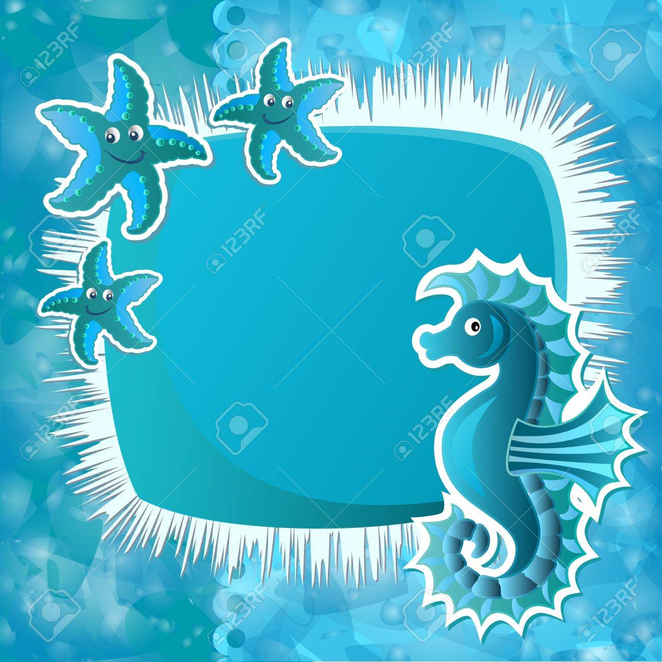 Baby background with funny sea animals Stock Vector - 14193133