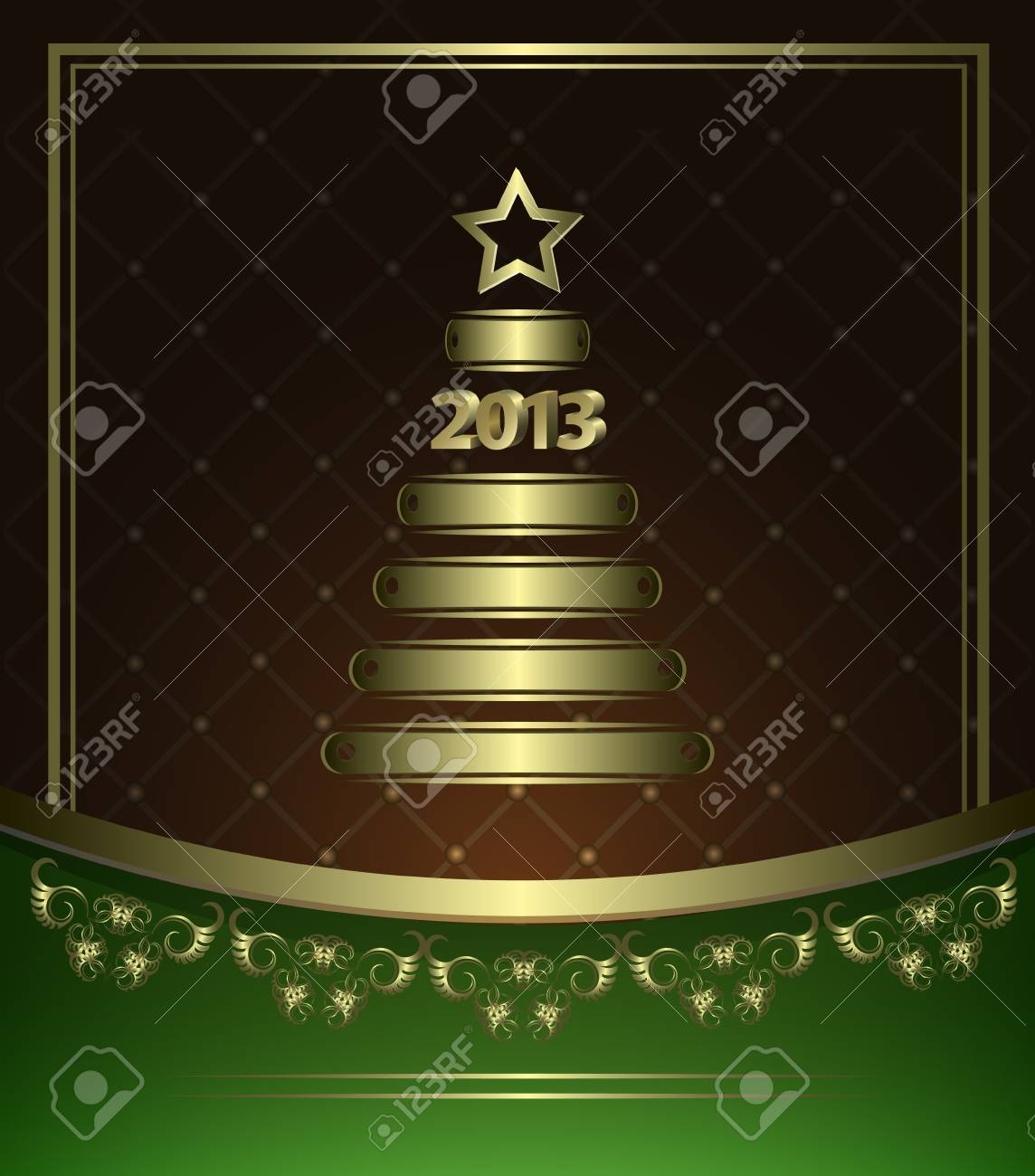 New Year Card with golden elements in abstract style Stock Vector - 14620452