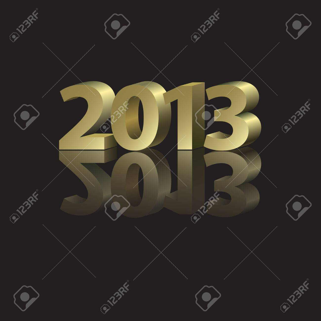 2013 New Year Card with golden elements in abstract style Stock Vector - 14620444