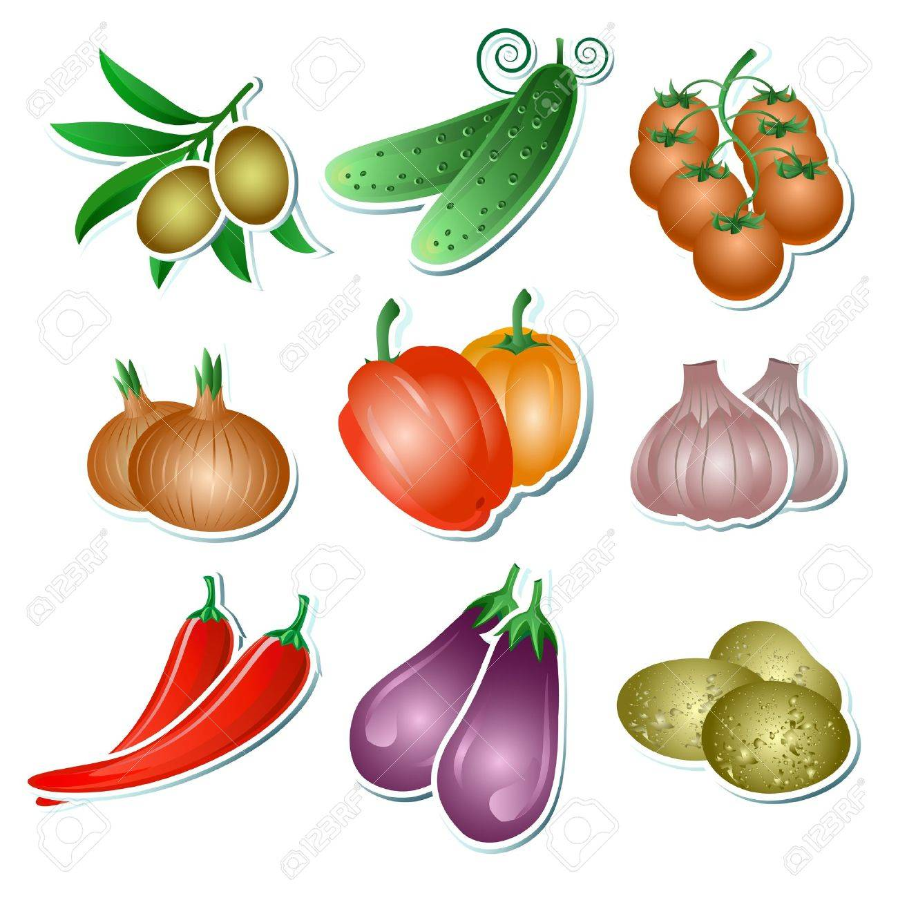 Set of illustration vegetables stickers on the white background Stock Vector - 16564811