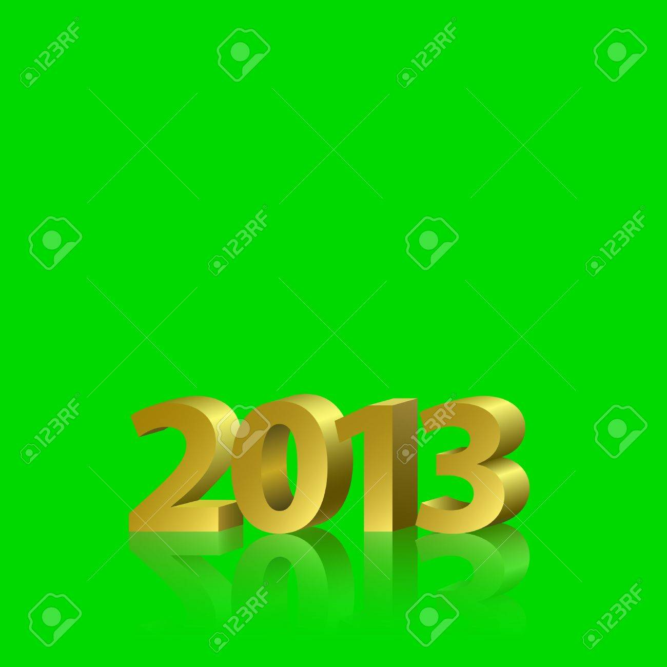 2013 new year banner golden letters on the green screen removable chroma key background