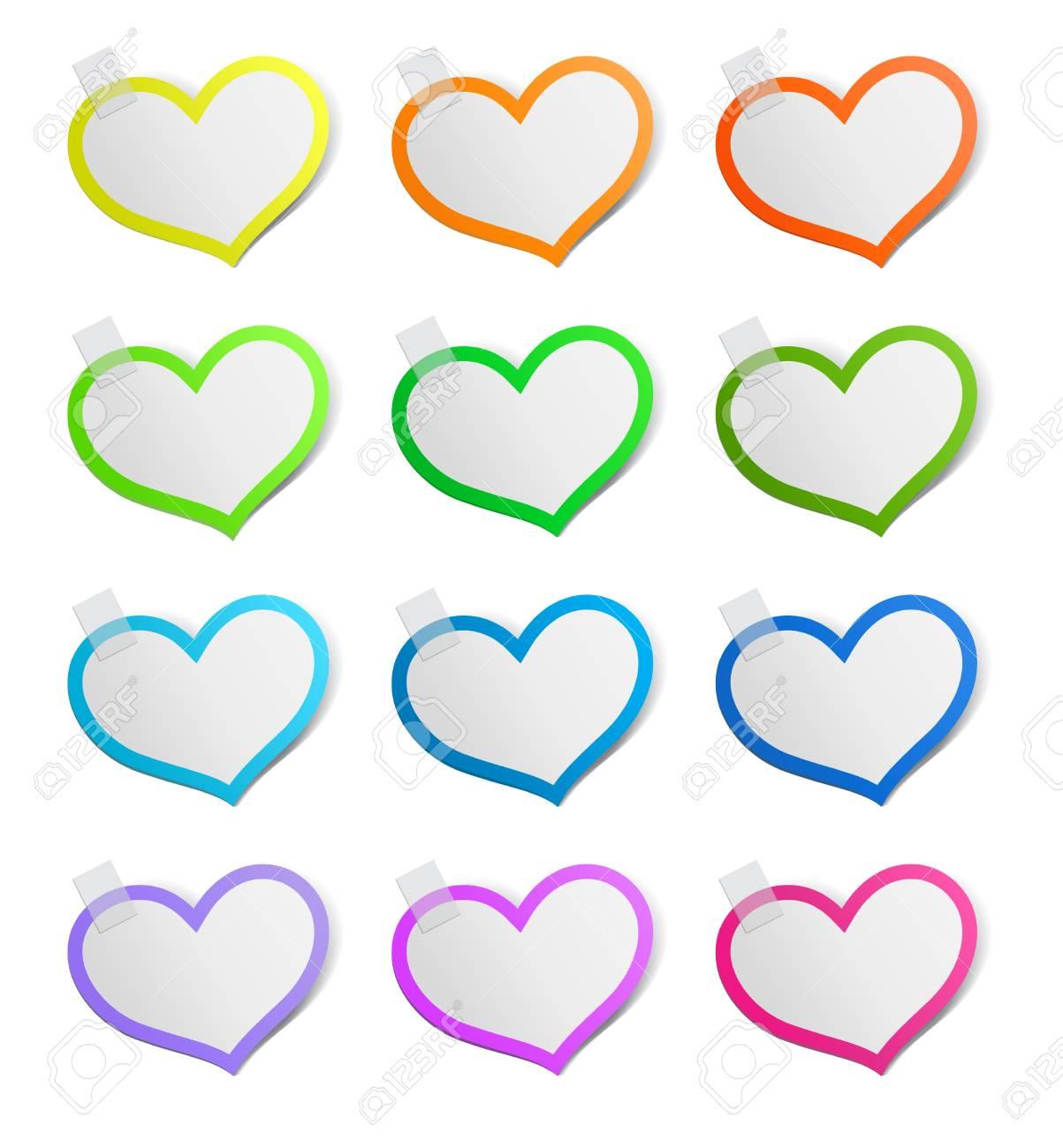 Heart shape stickers set, vector illustration Stock Vector - 17777159