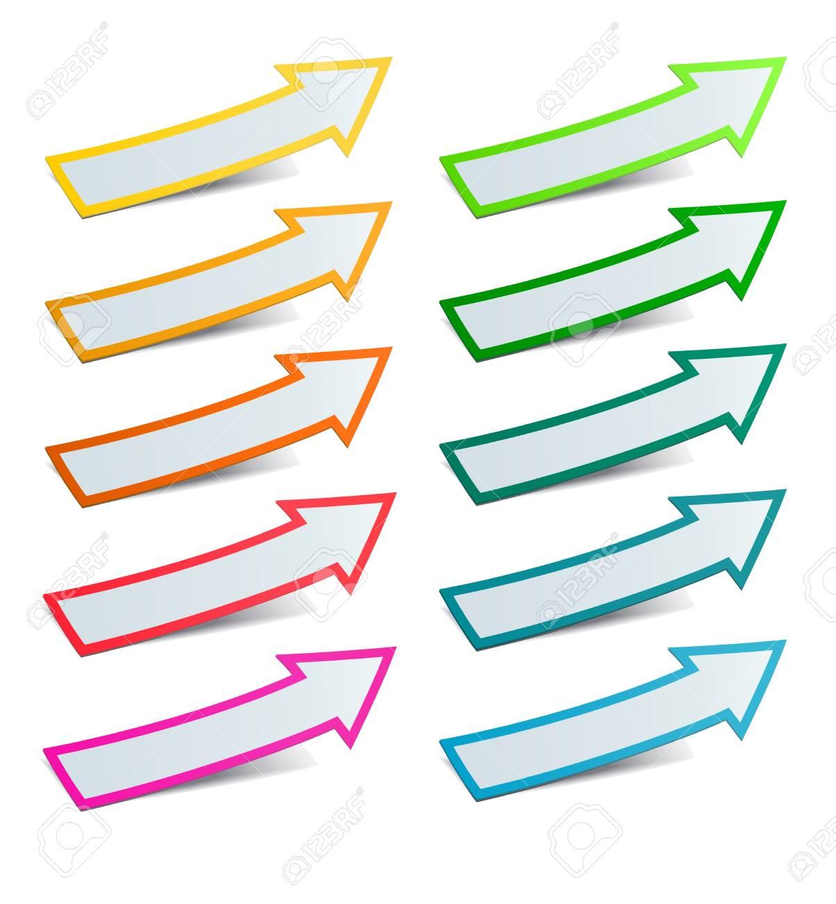 Color arrows sticker set, vector illustration Stock Vector - 17777154
