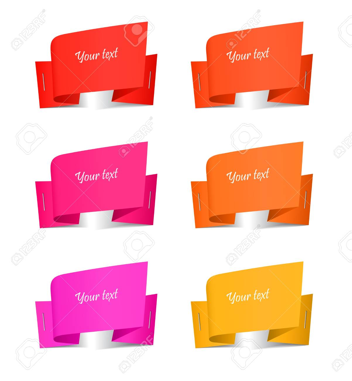 Set of origami paper banners, vector illustration Stock Vector - 17777153
