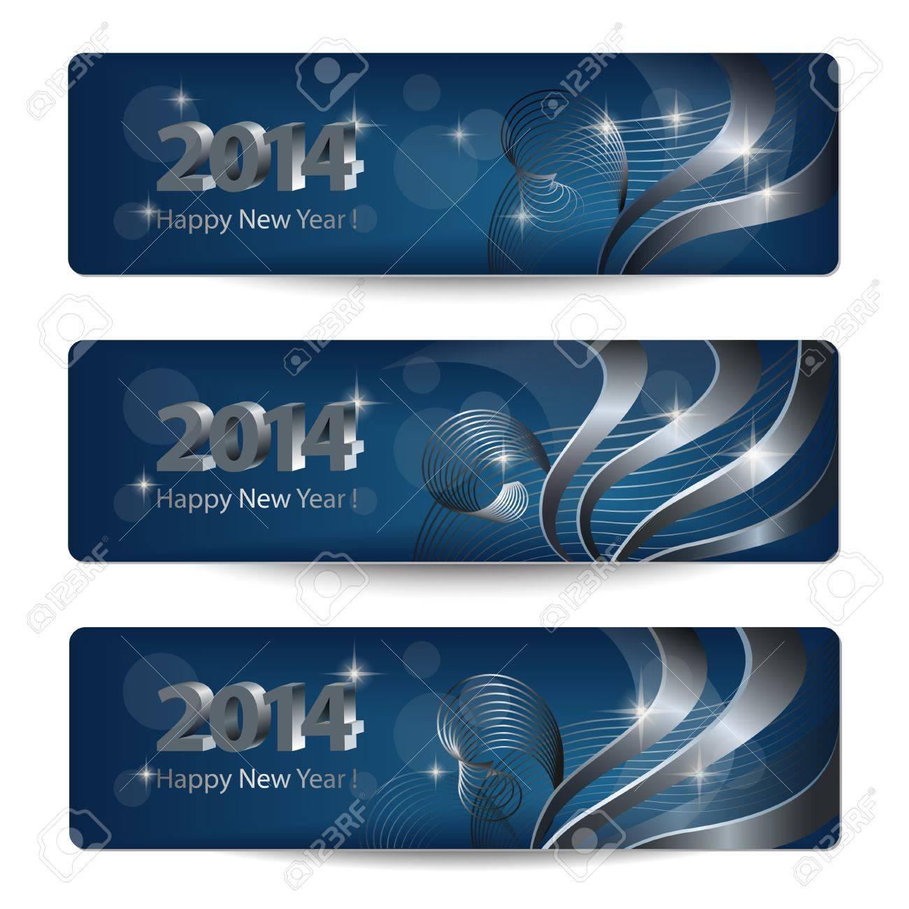 2014 New Year vector banners, headers Stock Vector - 19032040
