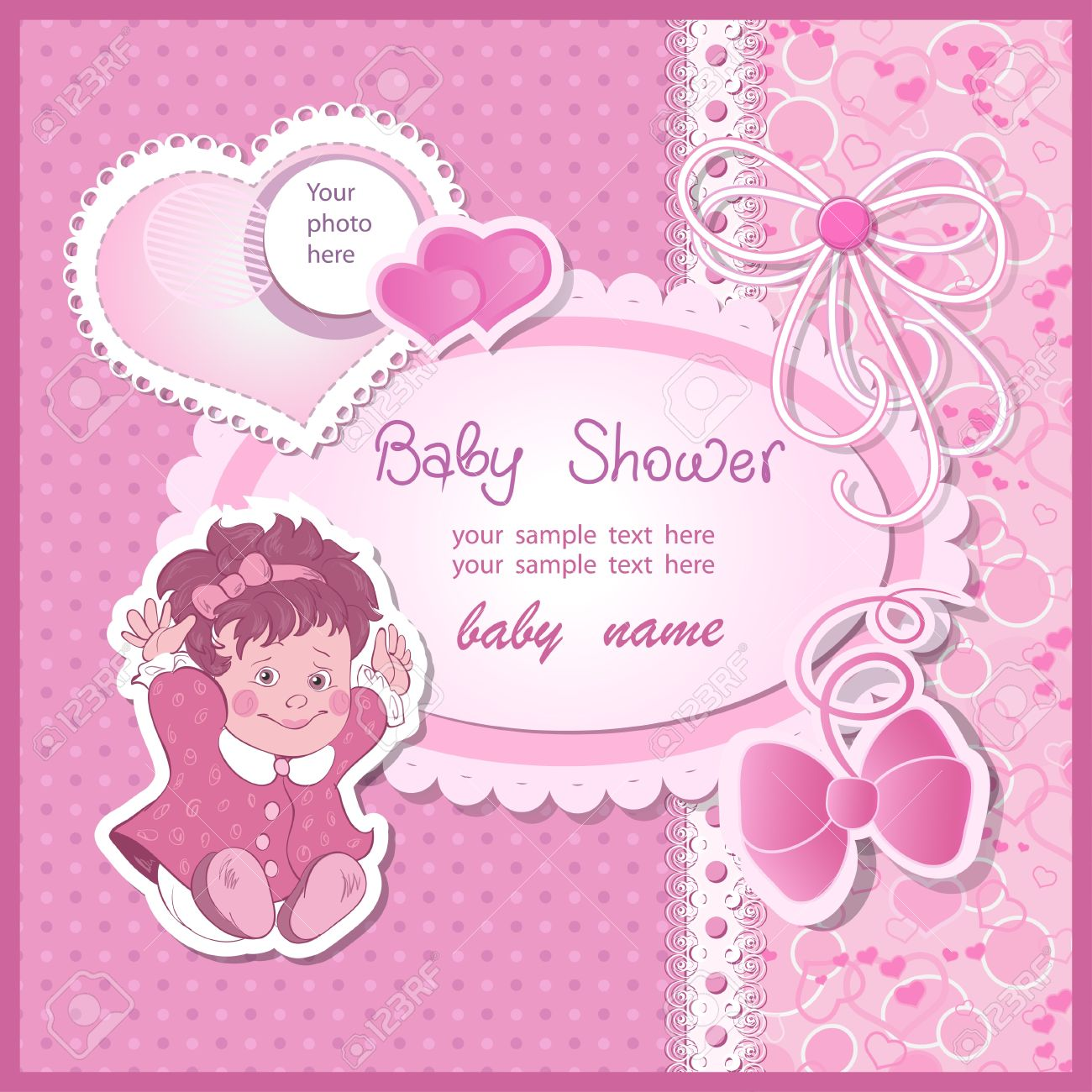 Baby shower for girl with toy and bows Stock Vector - 19032036