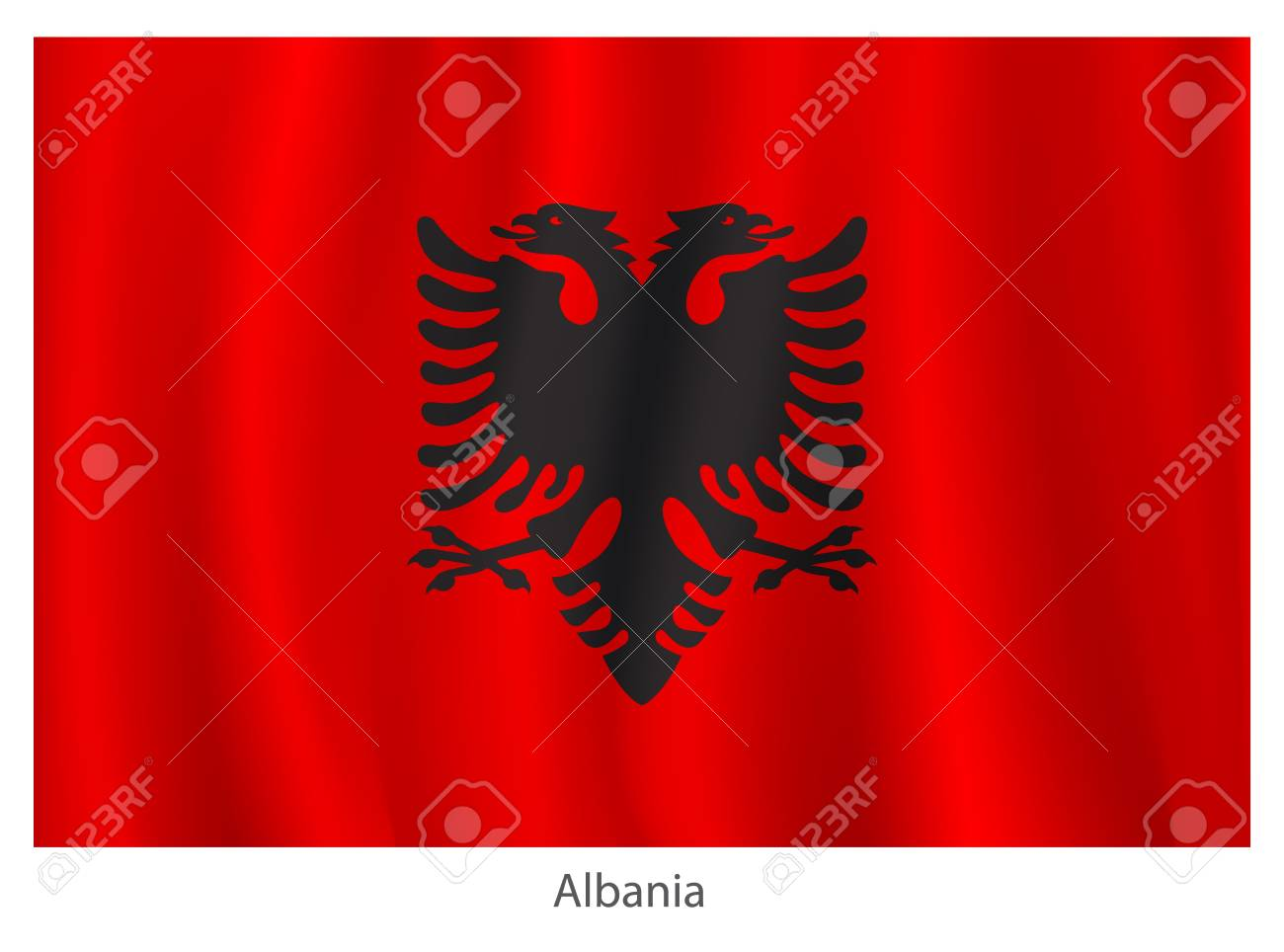 Albania vector flag with title Stock Vector - 20946090
