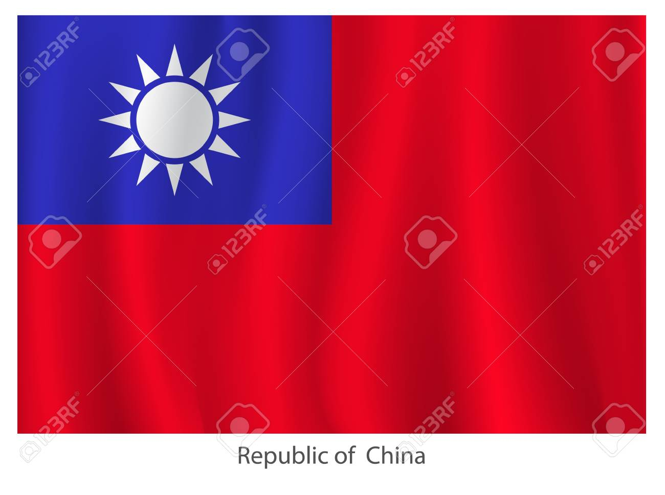 Republic of China flag  with title on the white background, vector illustration Stock Vector - 21327268