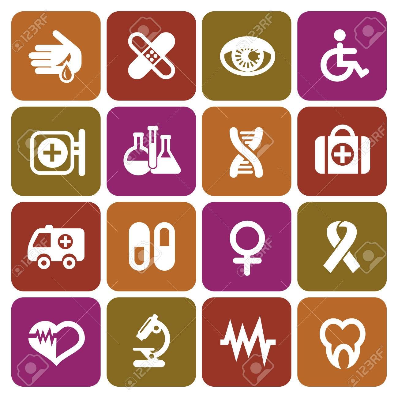 Set of medical icons in flat design, vector illustration Stock Vector - 24062213