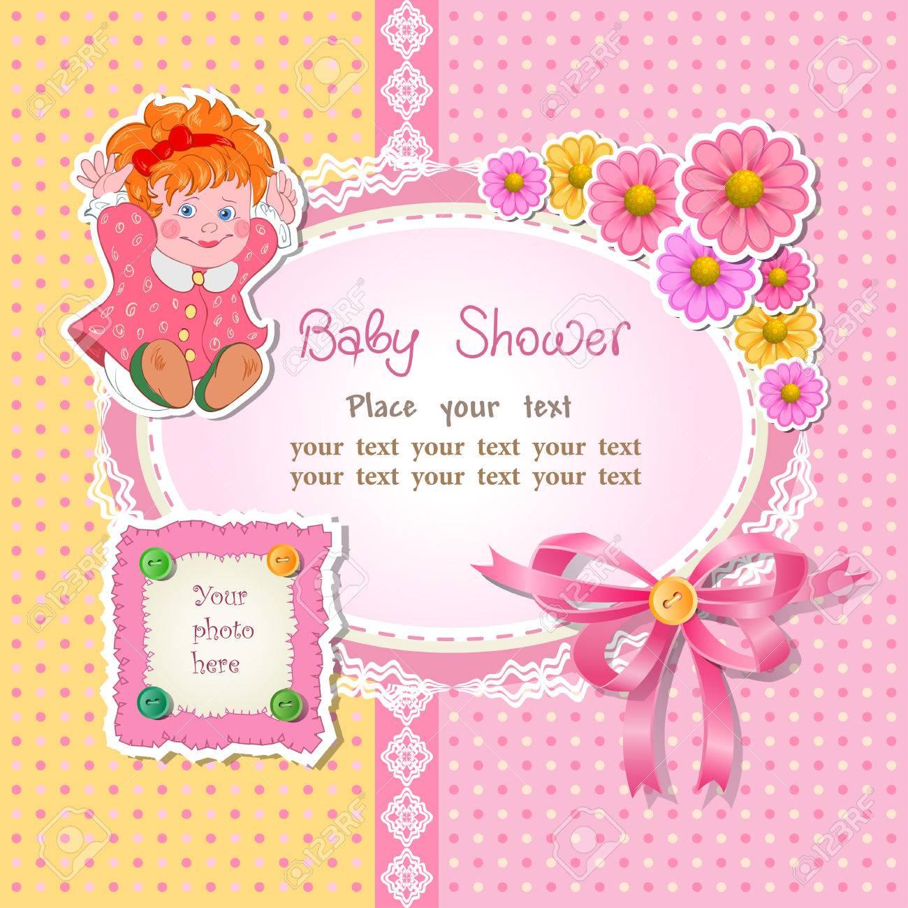 グッズや花ベクトル イラストと女の子のためのベビー シャワーの