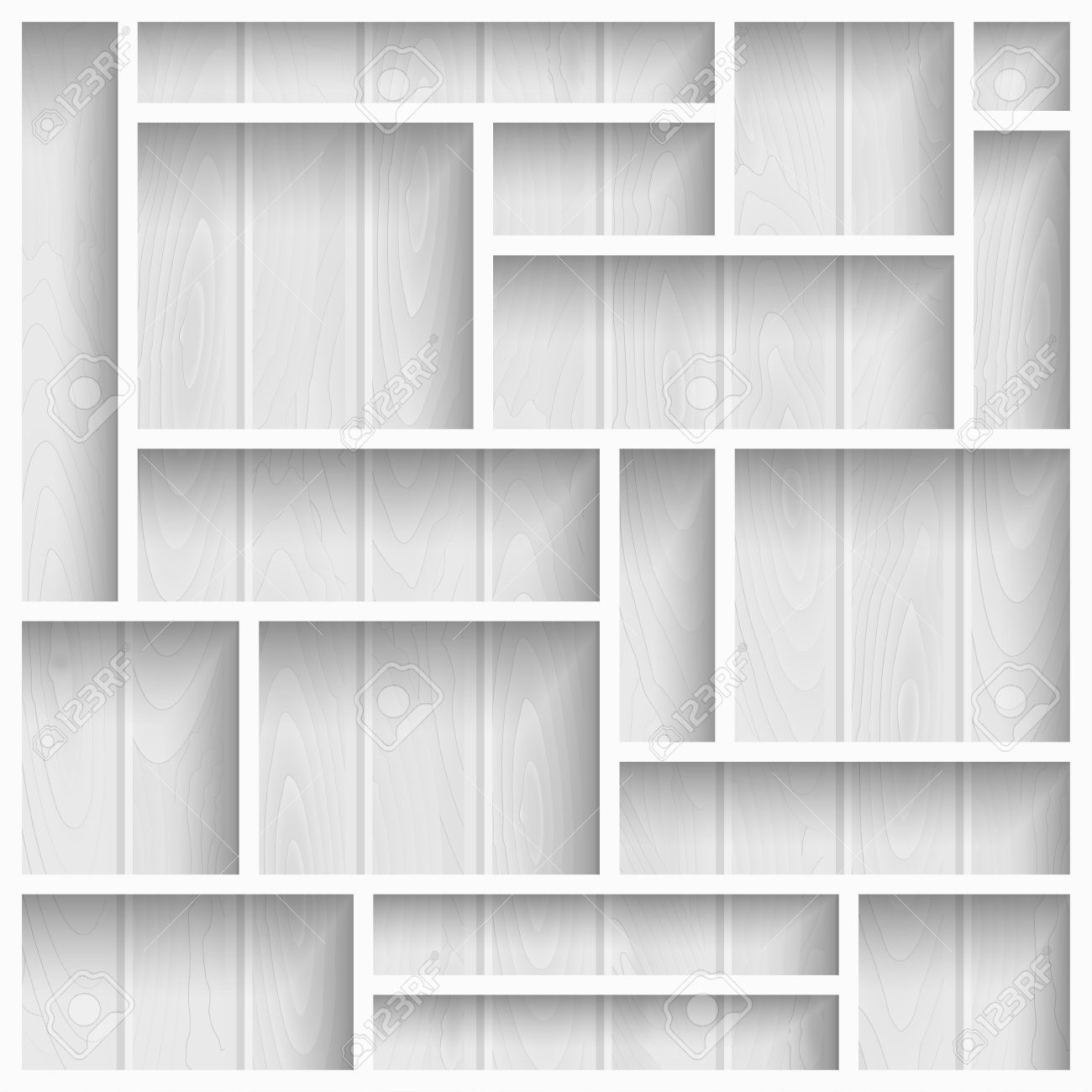 Interior wooden shelves free vector - Empty White Shelves On The Wooden Wall In Gray Colors Vector Background Stock Vector