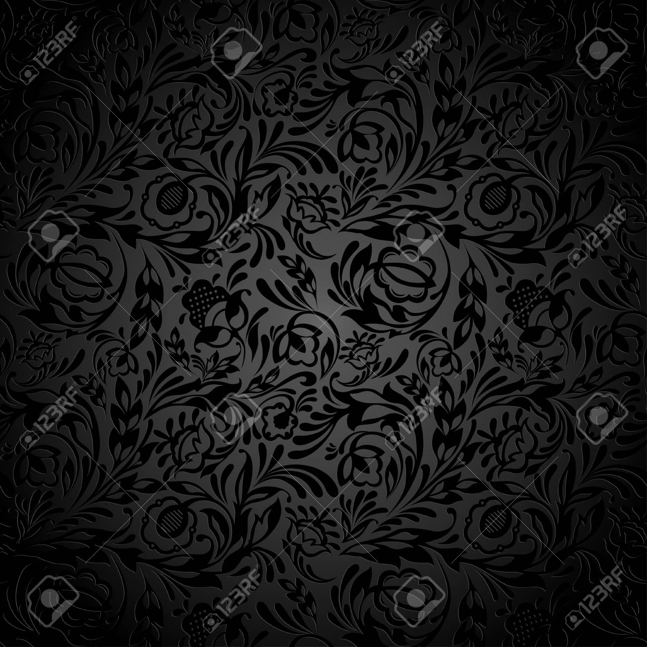 Black Floral Wallpaper Pattern Royalty Free Cliparts Vectors