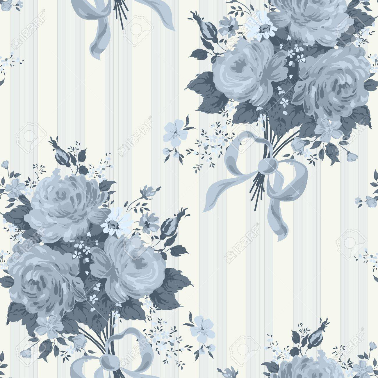 Blue Rose Vintage Wallpaper Floral Pattern Royalty Free Cliparts