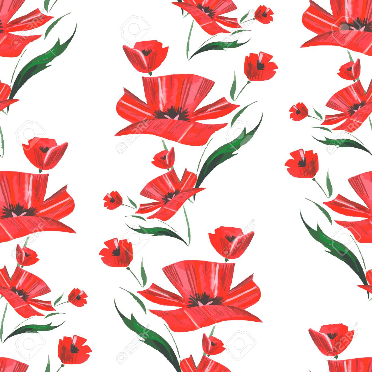 Watercolor Abstract Poppy Flower Pattern Vector Royalty Free