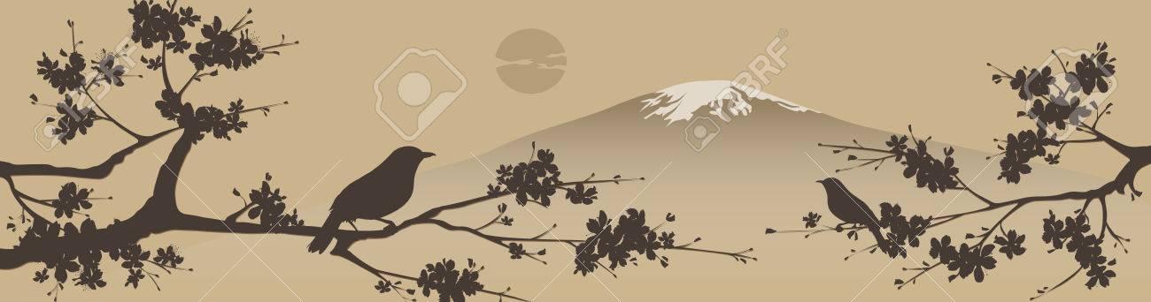 Japanese design with Fuji mountain and Sakua Tree. - 40044791