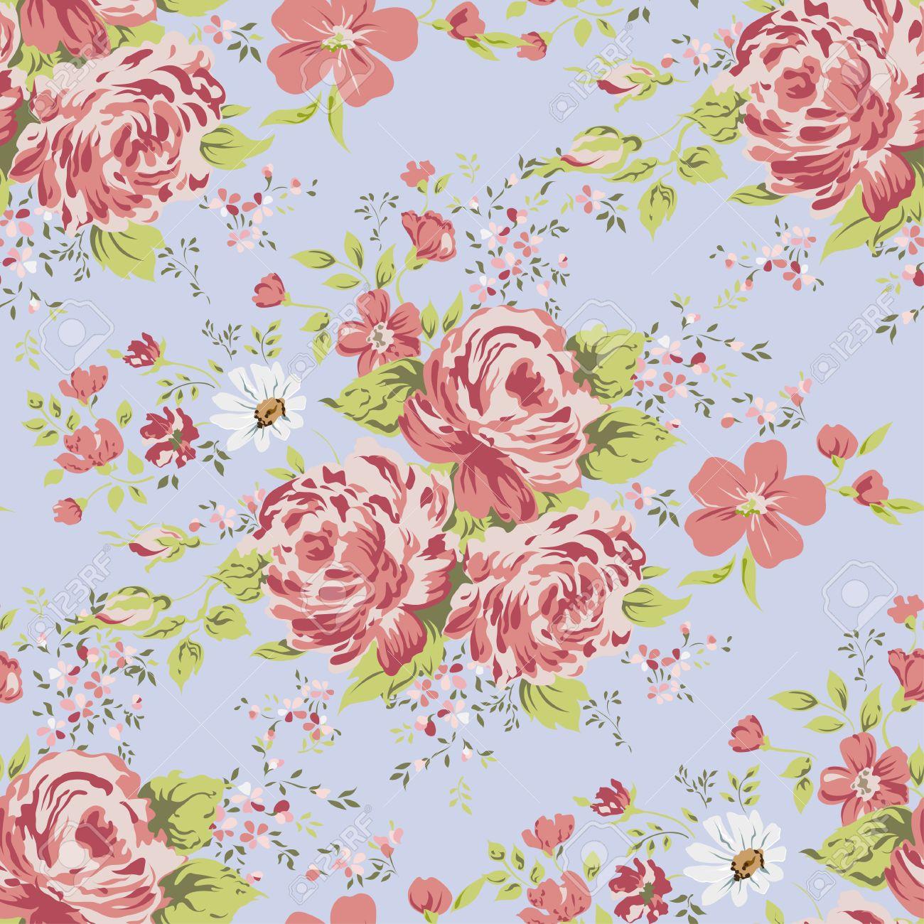 Wallpaper Seamless Vintage Pink Flower Pattern Royalty Free