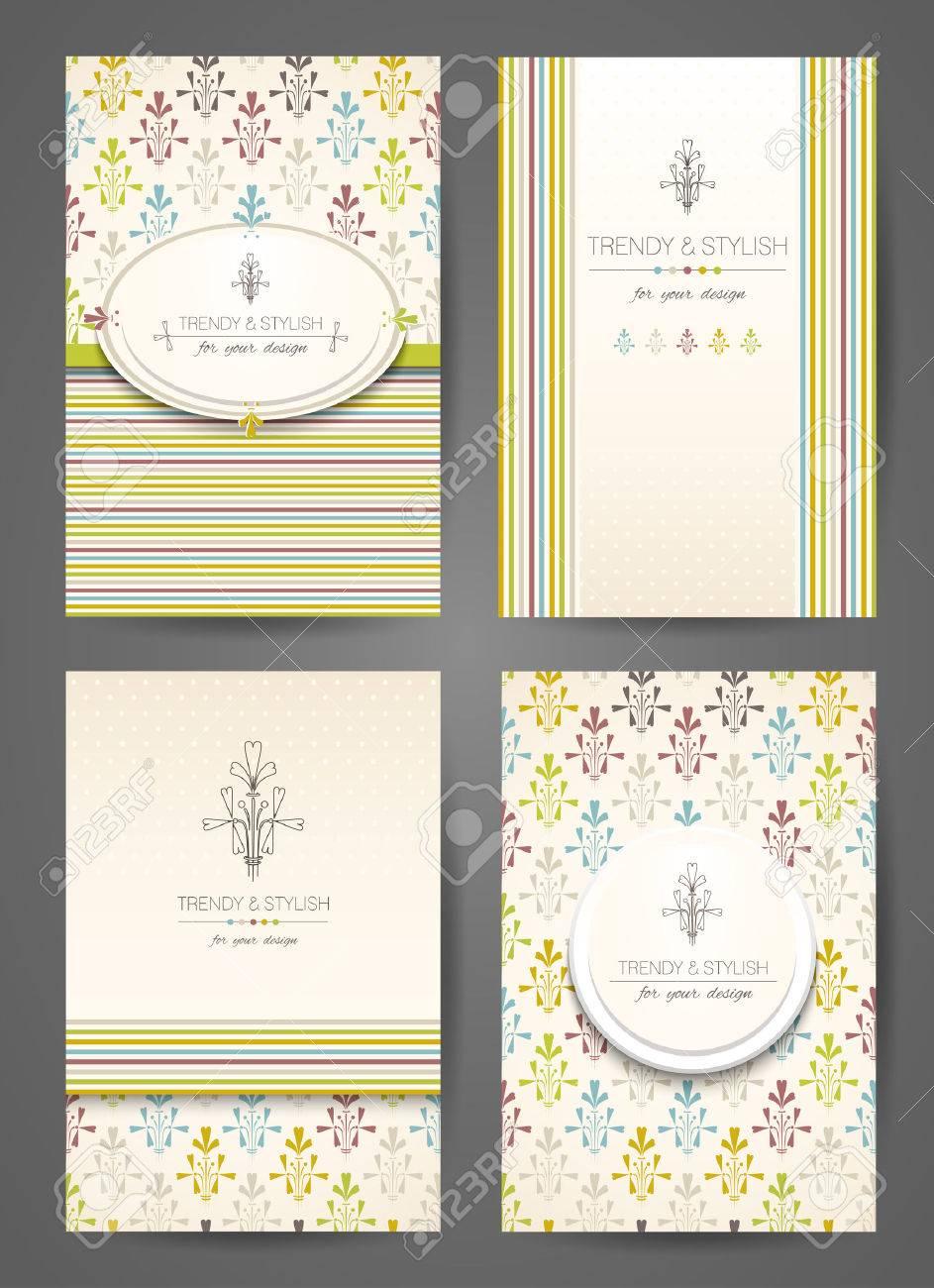 Set Von Broschüren Im Vintage-Stil. Kreative Karten. Vector Design ...
