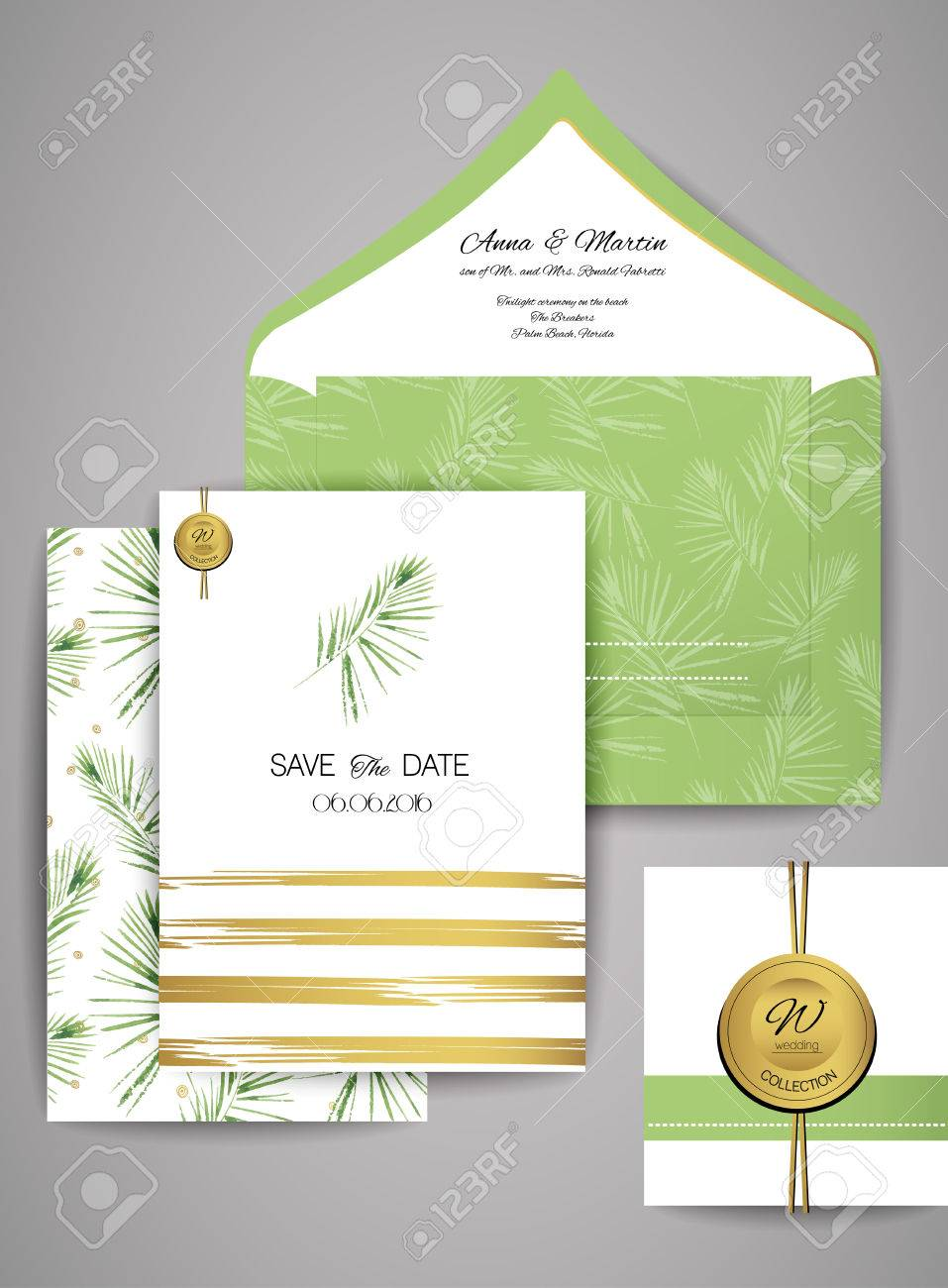Collection Of Wedding Invitation Card Suite With Watercolor Palm ...