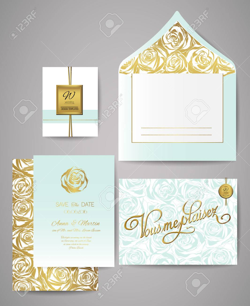 Set Of Gold And Mint Floral Invitation Cards. Wedding Invitations ...