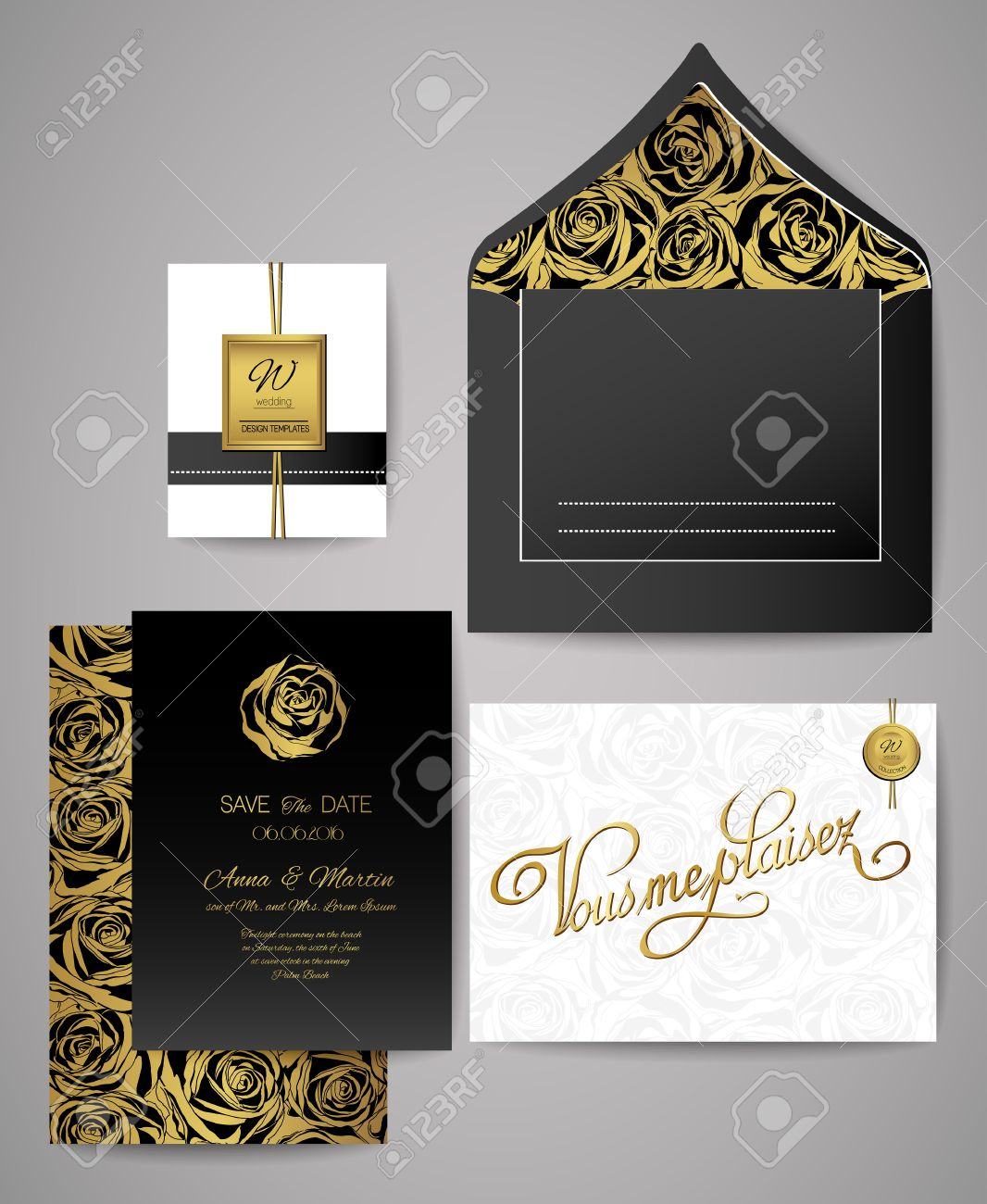 Set Of Gold And Black Floral Invitation Cards. Wedding Invitations,..  Royalty Free Cliparts, Vectors, And Stock Illustration. Image 64611376.