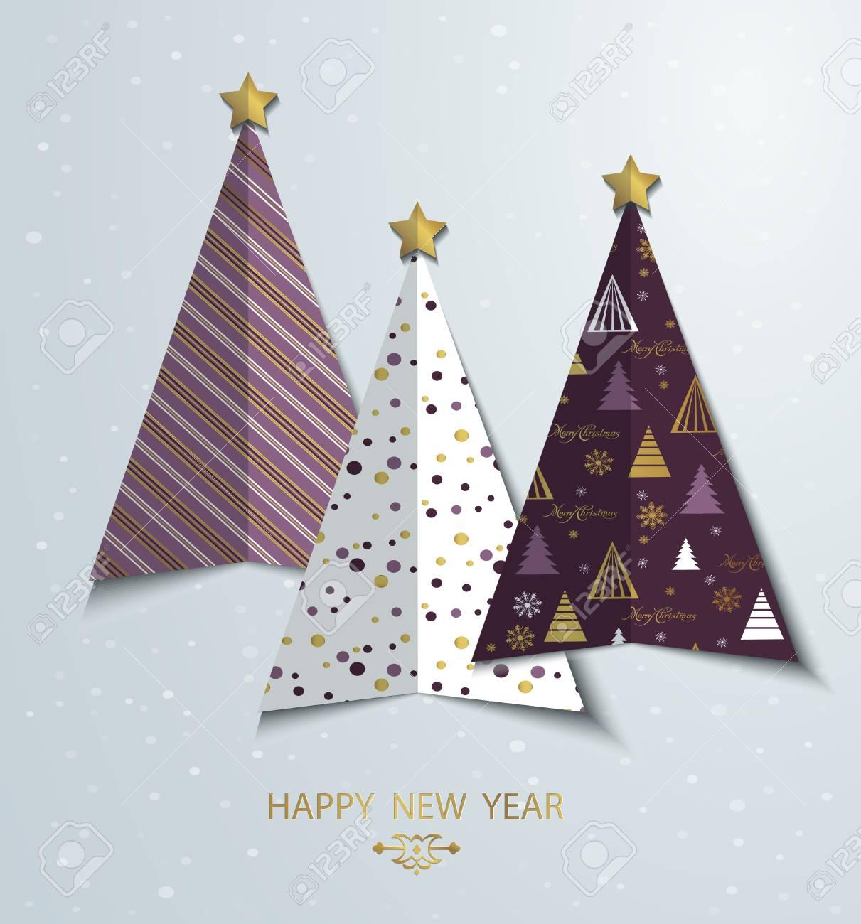 Bunte Sylized Weihnachtsbaum Grußkarte Hintergrund. Neues Jahr ...