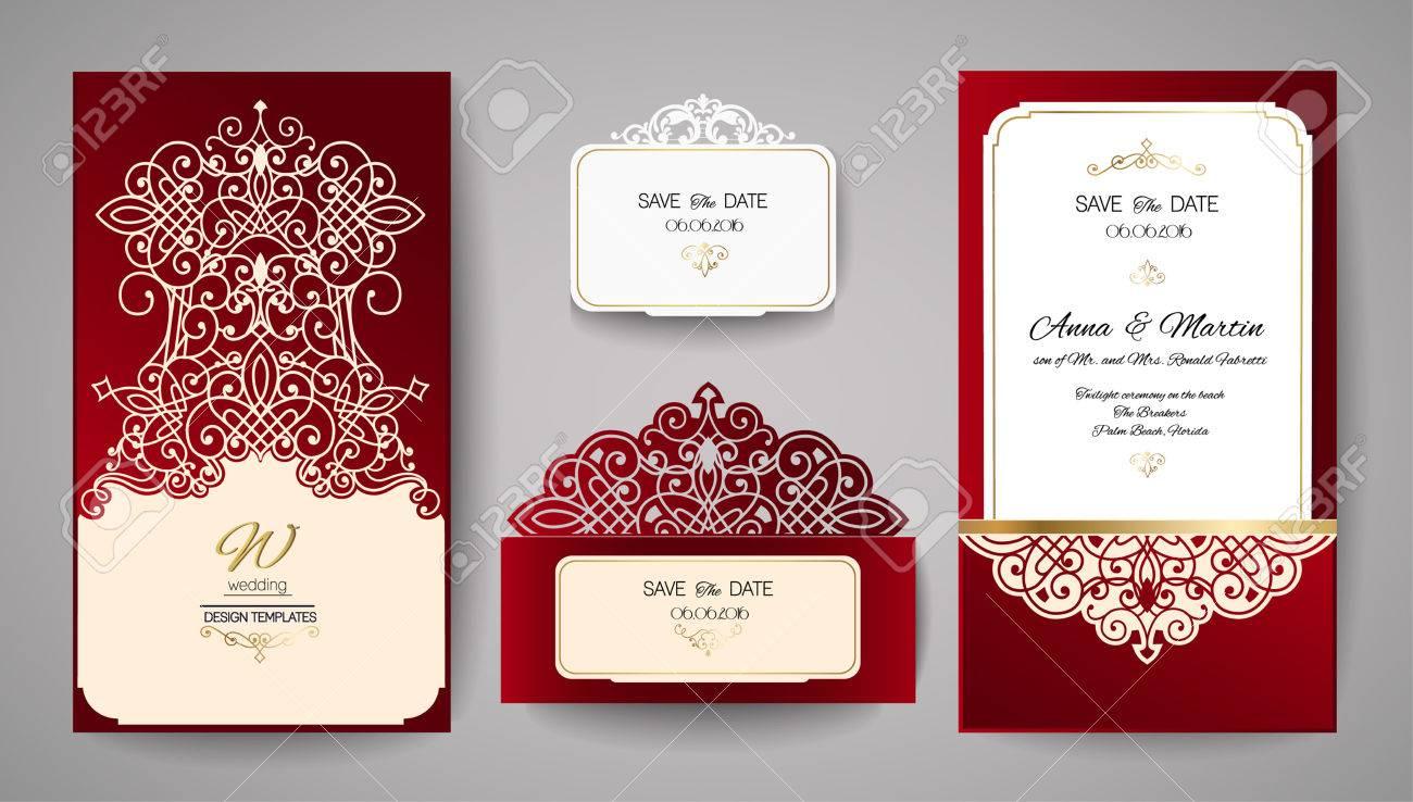 Einladung Zur Hochzeit Oder Grußkarte Mit Goldblumenverzierung. Einladung  Zur Hochzeit Umschlag Für Das Laserschneiden.
