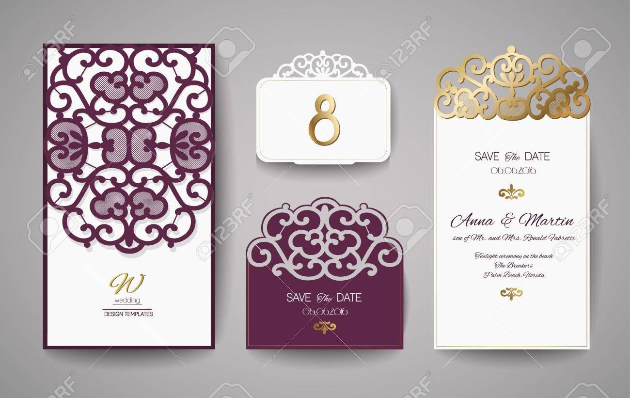 Set of wedding invitation vintage template for laser cutting imagens set of wedding invitation vintage template for laser cutting vector illustration stopboris Images