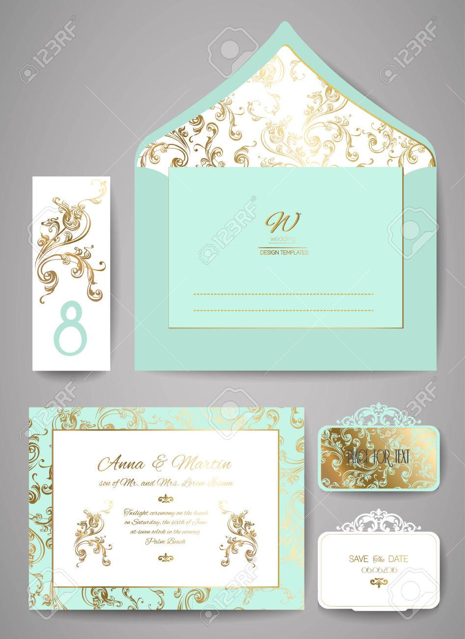 Set Of Template Wedding Invitation And Envelope With Floral Golden ...