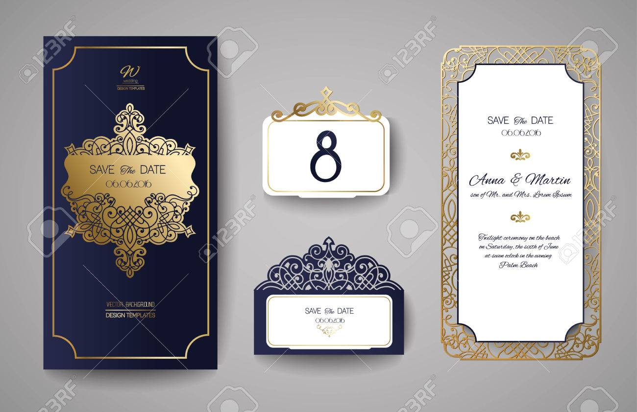 Set of wedding invitation vintage template for laser cutting banco de imagens set of wedding invitation vintage template for laser cutting vector illustration stopboris Images