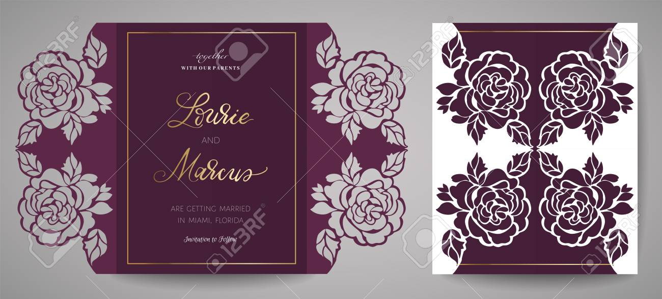 Floral Wedding Invitation. Template for laser cutting. Vector illustration. Design element to decorate the cake, template for cutting - 109132356