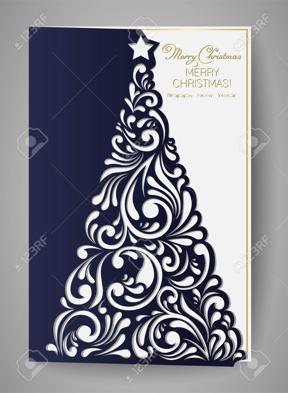 Christmas Tree Cut Out.Laser Cut Template For Christmas Cards Square Invitation For