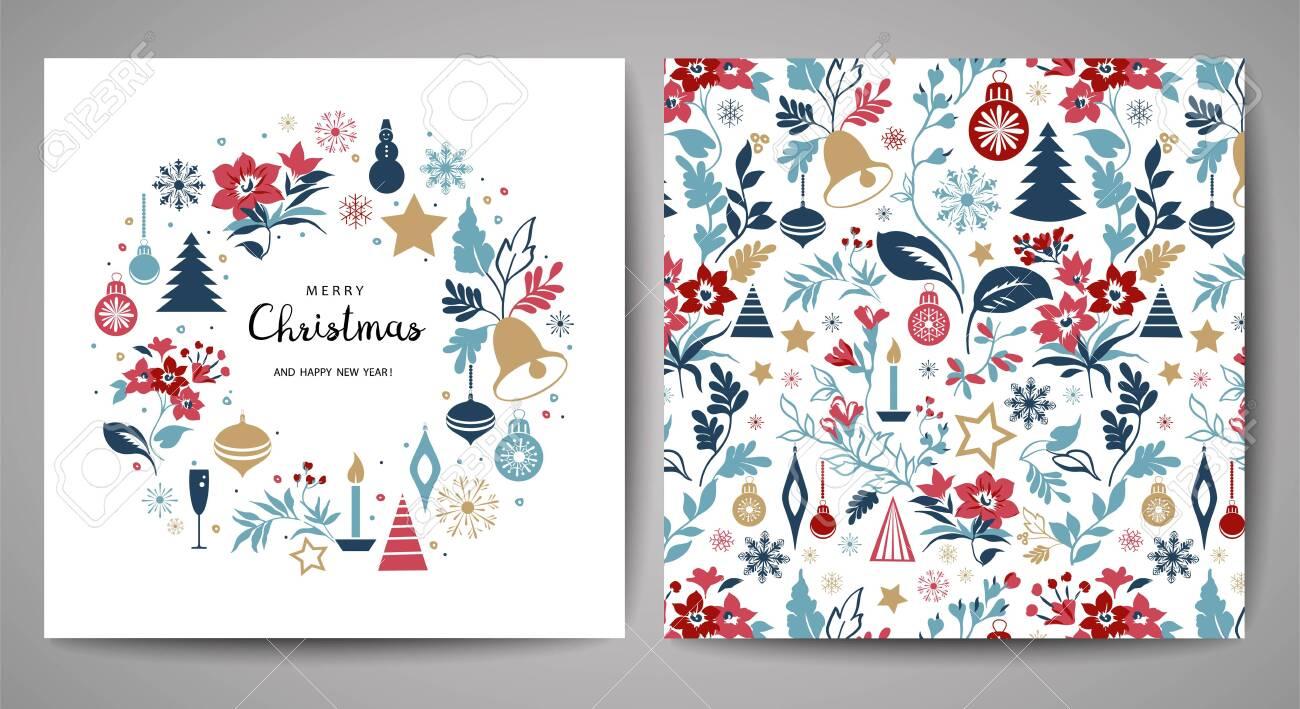 Merry Christmas greeting card. - 136469089