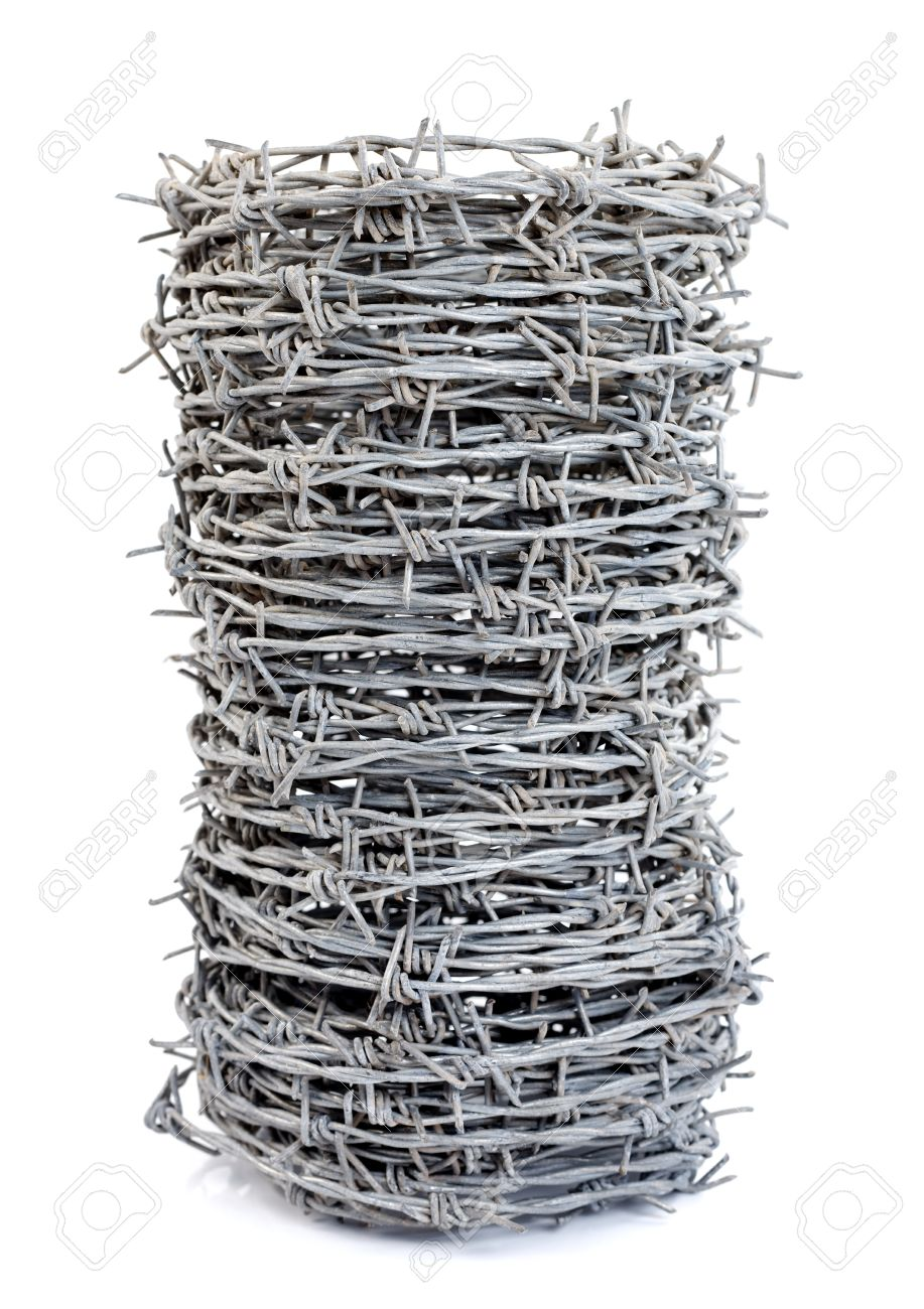 A roll of barbed wire over white background Stock Photo - 10726667